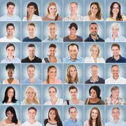 Collage Of People On Blue Background Stock Photos
