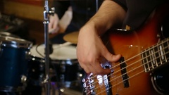 Bass and drums together playing rock n roll Stock Footage