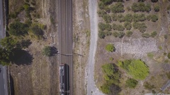 4K Aerial Drone footage of a train Stock Footage