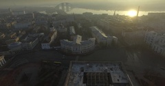 Aerial panorama of old europe city Kyiv, UA. Streets of the city at sunrise 2017 Stock Footage