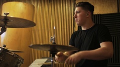 Percussionist Playing a Drum Set Stock Footage