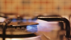 Stove top burner flame in slow motion 02 Stock Footage