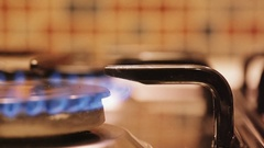 Stove top burner flame in slow motion Stock Footage