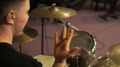 Man Playing With Drum Sticks Stock Footage