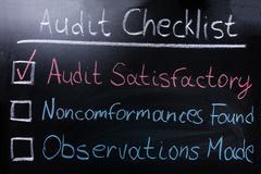 Audit Checklist On Blackboard Stock Photos