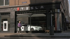 Amsterdam street with Tesla Store Stock Footage