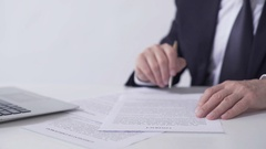 Company president reading contract, signing important cooperation agreement Stock Footage
