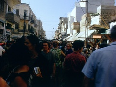 Crowd of People Shopping in Open Market in Israel 1960s Stock Footage