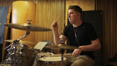 Young Percussionist Playing a Drum Set Stock Footage