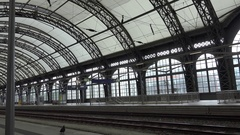 4K Beautiful interior hall of Dresden central station empty platform railway day Stock Footage