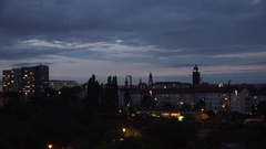 4K Panoramic view Dresden skyline at twilight tourism attraction iconic building Stock Footage