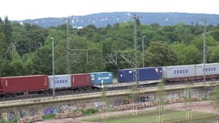 4K Aerial view cargo train transportation international goods railway transport Stock Footage