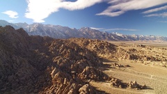 Sierra Nevada Mts Aerial Shot of Mountains and Rocky Desert in California Stock Footage