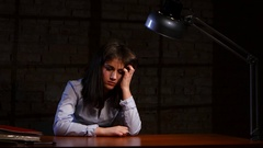 Woman give the chance write his own confession in crime Stock Footage
