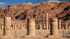 Columns of Great Temple in Petra, Jordan Stock Footage