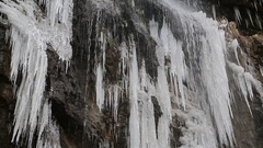 Beautiful frozen waterfall Stock Footage