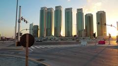 Green skyscrapers on Al reem island in Abu Dhabi, United Arab Emirates Stock Footage