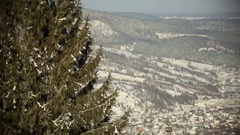 Panoramic shot of village in mountains at winter sunny day Stock Footage
