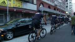 Police Follow Protest on Bikes Stock Footage