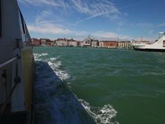 Public transport boat in Venice, Italy. Venetian lagoon. Stock Footage