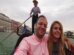 Beautiful lovers couple in Venice on Gondola ride. Stock Footage