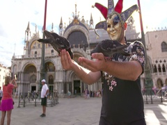 Man with a carnival mask feeding pigeons on St. Mark's Square Stock Footage