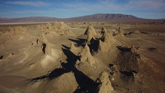 Trona Pinnacles Aerial Shot of Rock Formation in Mojave Desert near Death Valley Stock Footage