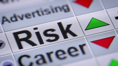 """Risk"" on the screen. Up. Looping. Stock Footage"