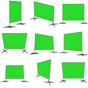 Billet press wall with green screen banner. Stock Illustration
