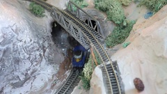 Amazing replica model train set and bridge Stock Footage