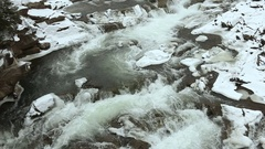 Winter water rapids on the river - a place for water tourism. Stock Footage