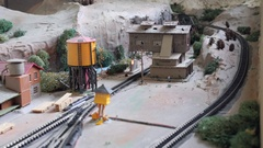 An amazing model train set and buildings Stock Footage
