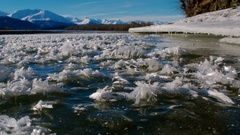 Frozen River and Ice Shelf Scenic Slide Forward Low with Hoarfrost Stock Footage