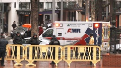 Ambulance Responds To Downtown Emergency Stock Footage