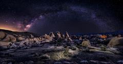 Milky Way Galaxy over Desert Stock Photos