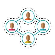 Group people connected unity communication-dotted line Stock Illustration