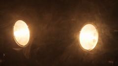 Photo studio lighting equipment on black background Stock Footage