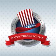 Happy president day hat ribbon label Stock Illustration