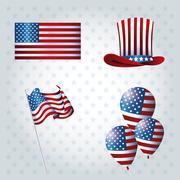 Set president day event celebration Stock Illustration