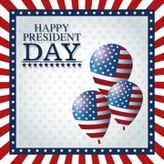 Happy president day balloons frame flag Stock Illustration