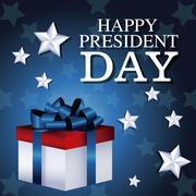 Happy president day gift box present star background Stock Illustration