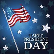 Happy president day flag american star background Stock Illustration