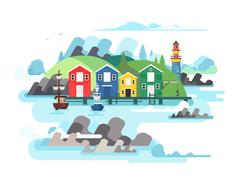 Port sea or ocean harbour Stock Illustration