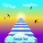Staiway to heaven. Vector illustration with sample text Stock Illustration