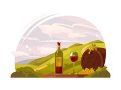 Vineyard with rich harvest Stock Illustration