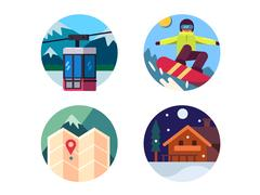 Ski resort set of icons Stock Illustration