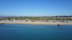 4K Newport Beach, Orange County - Flying to Shore Stock Footage
