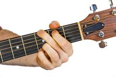 Detail of fingers and hand of guitar player Stock Photos