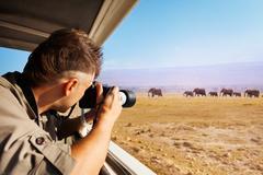 Man taking photo of elephants at African savannah Kuvituskuvat
