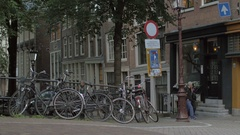 Bikes in cycle-friendly city of Amsterdam Stock Footage